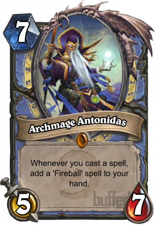 Archmage Antonidas (Archmage Antonidas) - Whenever you cast a spell, add a 'Fireball' spell to_your hand.