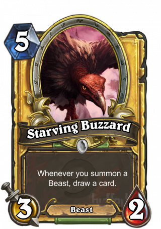 Starving Buzzard (Starving Buzzard) - Whenever you summon a Beast, draw a card.