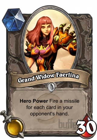 Grand Widow Faerlina (Grand Widow Faerlina) - Hero Power\nFire a missile for each card in your opponent's hand.