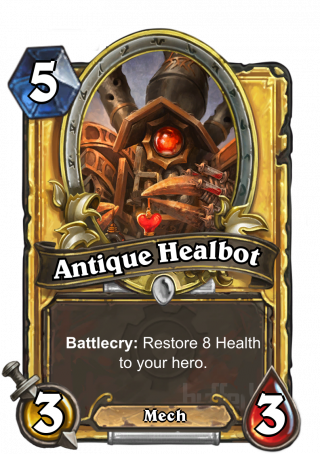 Antique Healbot (Antique Healbot) - Battlecry: Restore 8 Health to your hero.