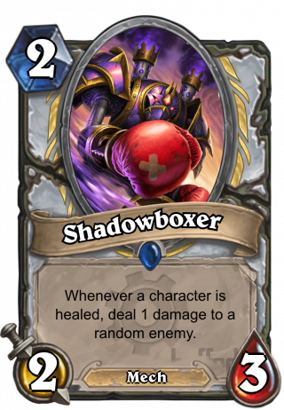Shadowboxer (Shadowboxer) - Whenever a character is healed, deal 1 damage to a random enemy.