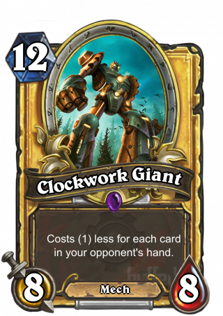 Clockwork Giant (Clockwork Giant) - Costs (1) less for each card in your opponent's hand.
