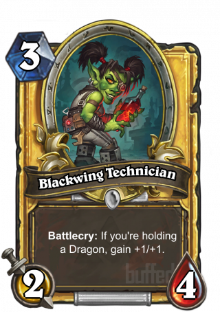 Blackwing Technician (Blackwing Technician) - Battlecry: If you're holding a Dragon, gain +1/+1.
