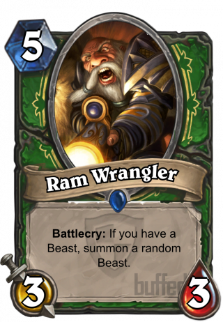 Ram Wrangler (Ram Wrangler) - Battlecry: If you have a Beast, summon arandom Beast.