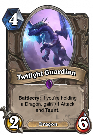 Twilight Guardian (Twilight Guardian) - Battlecry: If you're holding a Dragon, gain +1 Attack and Taunt.