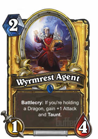 Wyrmrest Agent (Wyrmrest Agent) - Battlecry: If you're holding a Dragon, gain +1 Attack and Taunt.