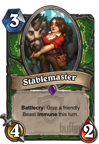 Stablemaster (Stablemaster) - Battlecry: Give a friendly Beast Immune this turn.