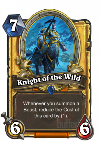Knight of the Wild (Knight of the Wild) - Whenever you summon a Beast, reduce the Cost of this card by (1).