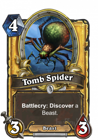 Tomb Spider (Tomb Spider) - Battlecry: Discover a Beast.