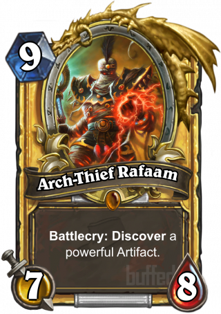 Arch-Thief Rafaam (Arch-Thief Rafaam) - Battlecry: Discover a powerful Artifact.
