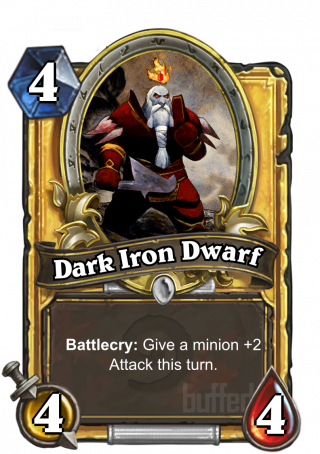 Dark Iron Dwarf (Dark Iron Dwarf) - Battlecry: Give a minion +2_Attack this turn.