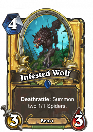 Infested Wolf (Infested Wolf) - Deathrattle: Summon two 1/1 Spiders.
