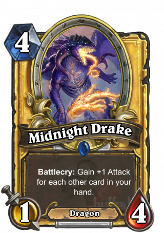 Midnight Drake (Midnight Drake) - Battlecry: Gain +1 Attack for each other cardin your hand.