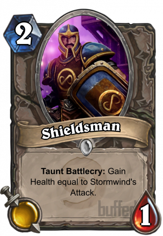 Shieldsman (Shieldsman) - TauntBattlecry: Gain Health equal to Stormwind's Attack.