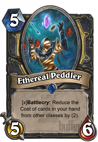 Ethereal Peddler (Ethereal Peddler) - Battlecry: If you're holdingany non-Rogue class cards,_reduce their Cost by (2).