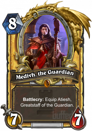Medivh, the Guardian (Medivh, the Guardian) - Battlecry: Equip Atiesh, Greatstaff of the Guardian.