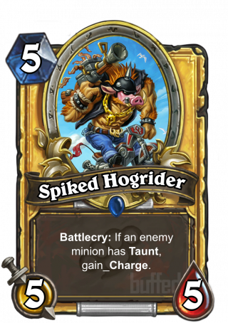 Spiked Hogrider (Spiked Hogrider) - Battlecry: If an enemy minion has Taunt, gain_Charge.