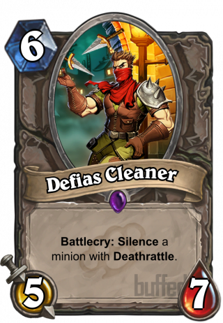 Defias Cleaner (Defias Cleaner) - Battlecry: Silence a minion with Deathrattle.