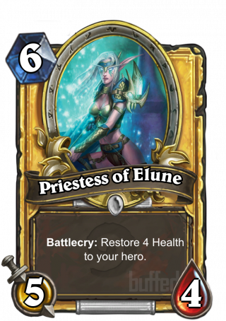 Priestess of Elune (Priestess of Elune) - Battlecry: Restore 4 Health to your hero.