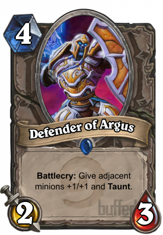 Defender of Argus (Defender of Argus) - Battlecry: Give adjacent minions +1/+1 and Taunt.