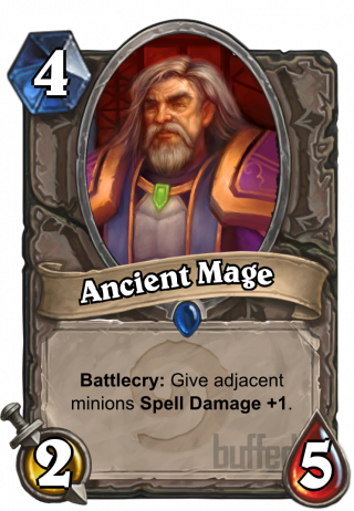 Ancient Mage (Ancient Mage) - Battlecry: Give adjacent_minions Spell_Damage +1.