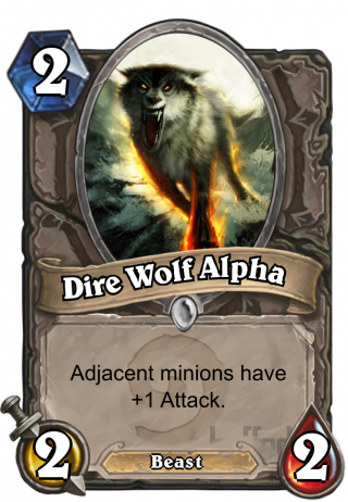 Dire Wolf Alpha (Dire Wolf Alpha) - Adjacent minions have +1_Attack.