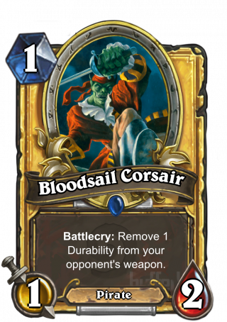 Bloodsail Corsair (Bloodsail Corsair) - Battlecry: Remove1 Durability from youropponent's weapon.