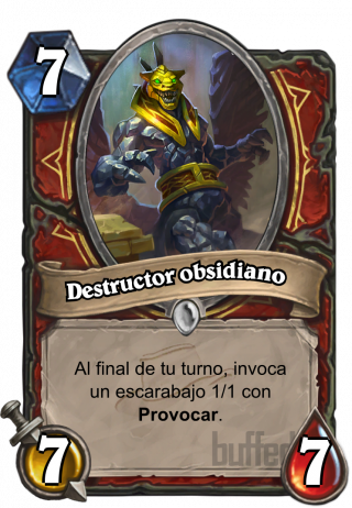 Destructor obsidiano (Obsidian Destroyer) - Al final de tu turno, invoca un escarabajo 1/1 con Provocar.