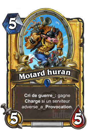 Motard huran (Spiked Hogrider) - Cri de guerre_: gagne Charge si un serviteur adverse_a_Provocation.